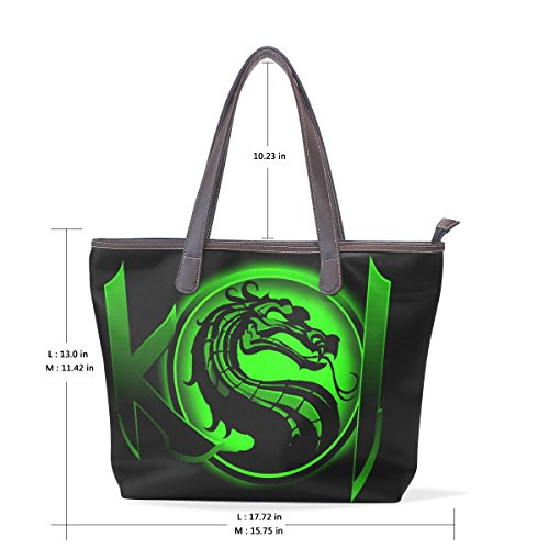 Reptile Mortal Kombat Costumes (Dragon Print Women's Fashion Large Tote Shoulder Bag Ladies Handbag)