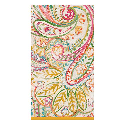 - Caspari Painted Paisley Paper Guest Towel Napkins in Gold Dust, 15 Per Package