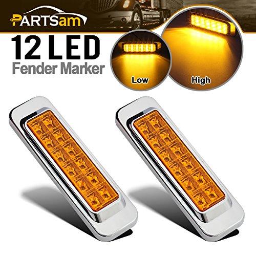 Partsam Side Marker LED Light Turn Clearance 12 LED Amber Chrome Bezel Cab Panel 12V Led Rectangular Truck Trailer Lights