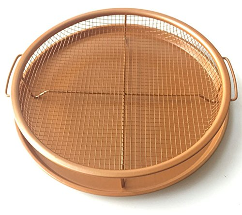 Copper Ceramic Crisping Tray  12  Wide  Great Air Fryer To Make Crisper Personal Pan Pizza  Fries  Wings   More  Non Stick  Dishwasher Safe