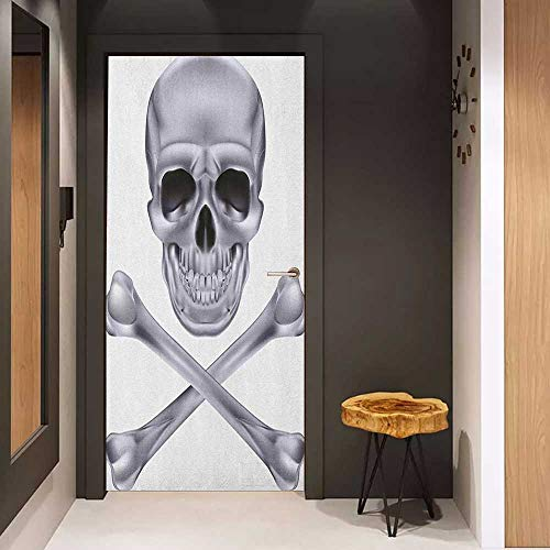 Onefzc Door Wall Sticker Grey Vivid Skull and Crossed Bones Dangerous Scary Dead Skeleton Evil Face Halloween Theme Mural Wallpaper W36 x H79 -