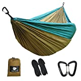 Anyoo Double Camping Hammock 118''¡Á78 Nylon Parachute Fabric,2 xAluminum Carabiners,2 x Nylon Straps Included,Lightweight Portable for Hiking Backpacking Travelling