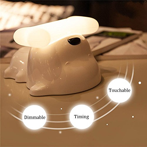 Hgrope Portable Night Light - LED Bedside Table Lamp, Touch Sensor Dimmable Baby Night Light, Handle Design Fully Adjustable Brightness Light by Hgrope (Image #1)