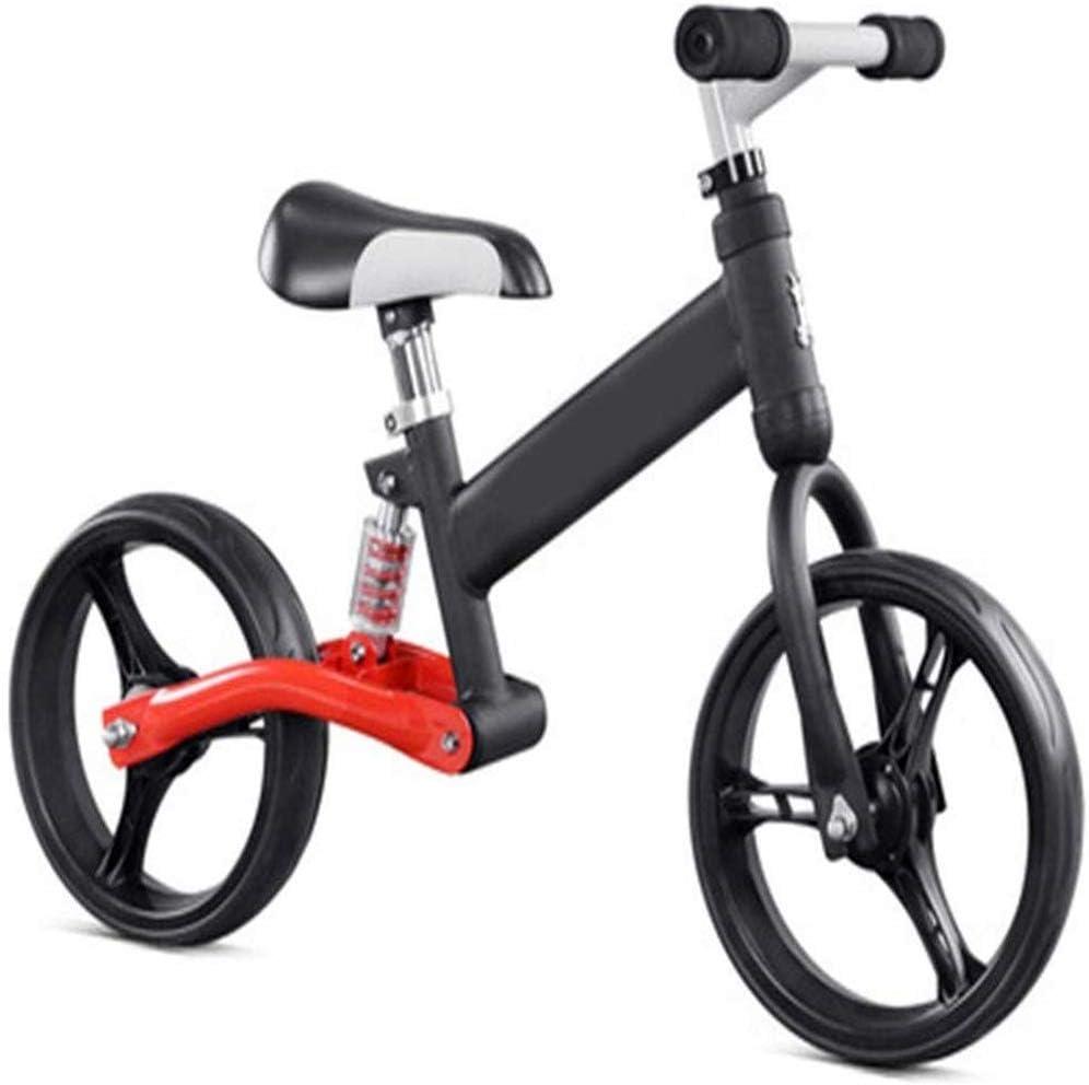 AJH Neumáticos niños Bicicleta de Equilibrio de Peso Ligero Balance de la Bici con amortiguación de Aire Libre Antideslizante Manillar sin Pedal de Empuje Que Caminan del Deporte de la Bicicleta,A