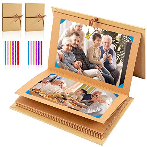 ANPHSIN 2 Pack Scrapbooks Photo Albums Hardcover Accordion Style 6 × 8 inches DIY Kraft Paper Photo ()