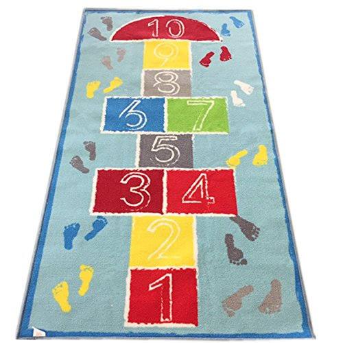 JACKSON Hopscotch Kid Rug for Playroom,kid's room,Nursery and Classroom,40''x71''Educational Area Rug for Boy and Girl,Safe and Fun Game Rug with Non-Slip Backing - Balance Play Carpet