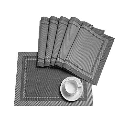 HEBE Placemats for Dining Table Heat Resistant Stain Resistant Washable Placemats Set of 6 Kitchen Table Place Mats Woven Vinyl Placemats