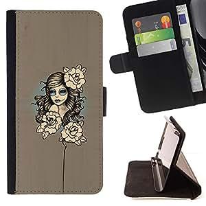 Momo Phone Case / Flip Funda de Cuero Case Cover - Mujer floral;;;;;;;; - Samsung Galaxy S5 V SM-G900