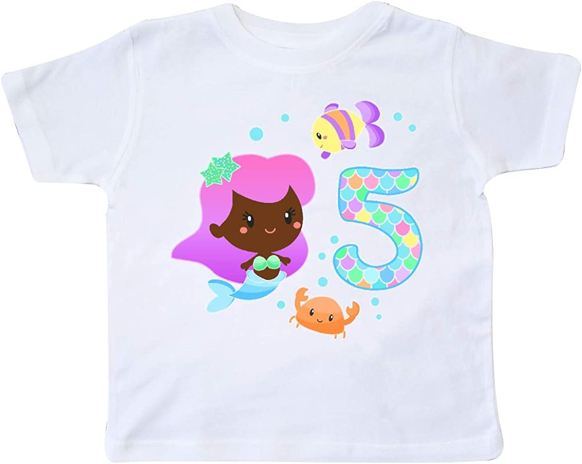 inktastic Fifth Birthday Mermaid with Fish and Crab Toddler T-Shirt