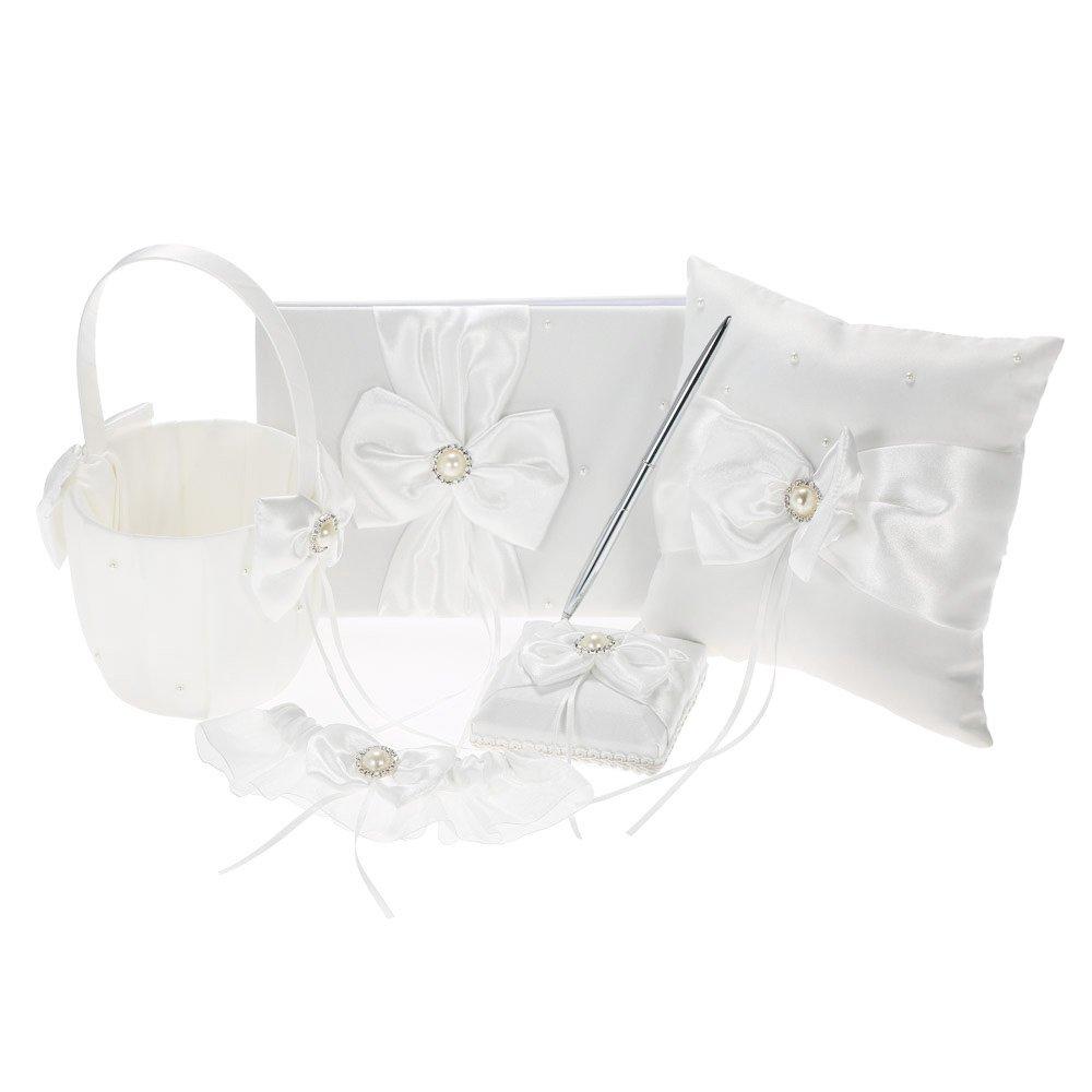 Decdeal 5pcs/set White Wedding Supplies Satin Flower Girl Basket + Ring Bearer Pillow + Guest Book + Pen Holder + Bride Garter Set
