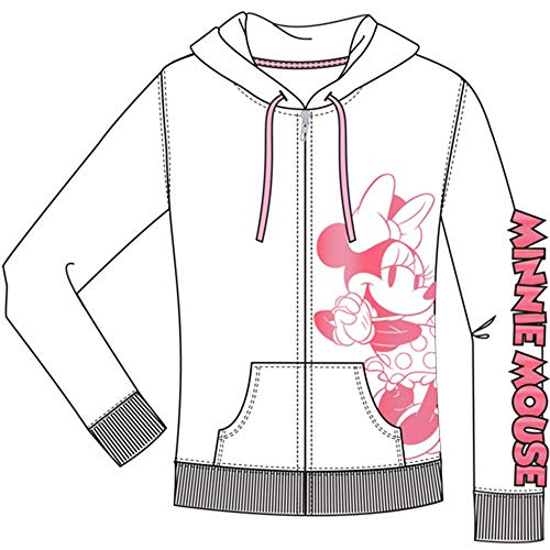 Disney Junior Zip Up Hoodie Hey There Minnie Pink White Small