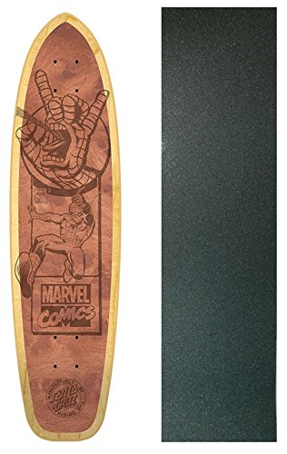 SANTA CRUZ Skateboard Deck SPIDERMAN ENGRAVED NATURAL with GRIPTAPE
