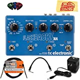 TC Electronic Flashback X4 Bundle with Power Supply, Instrument Cable, Patch Cable, Picks, and Austin Bazaar Polishing Cloth