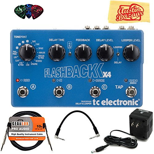 TC Electronic Flashback X4 Bundle with Power Supply, Instrument Cable, Patch Cable, Picks, and Austin Bazaar Polishing Cloth by TC Electronic