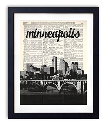 Minneapolis Skyline With Name Vertical Dictionary Art Print 8x10