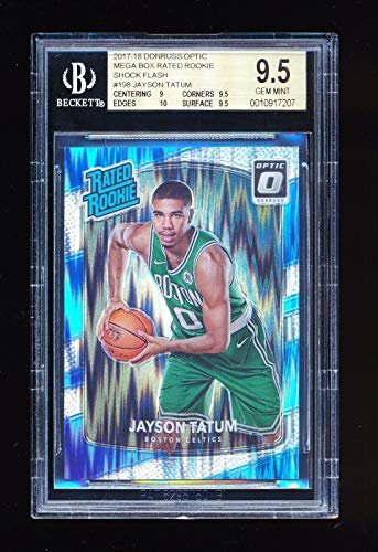 - BGS 9.5 JAYSON TATUM 2017-18 DONRUSS OPTIC MEGA BOX RATED ROOKIE SHOCK FLASH GEM