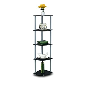 Furinno 99811BK/GY Turn-N-Tube 5 Tier Corner Shelf, Black/Grey