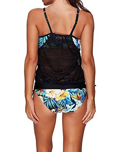 Parti Tankini 2 Sportivo Donna Swimsuit da Costumi Swimwear Bikini Stile1 Bagno Stampa xnF00q1OA