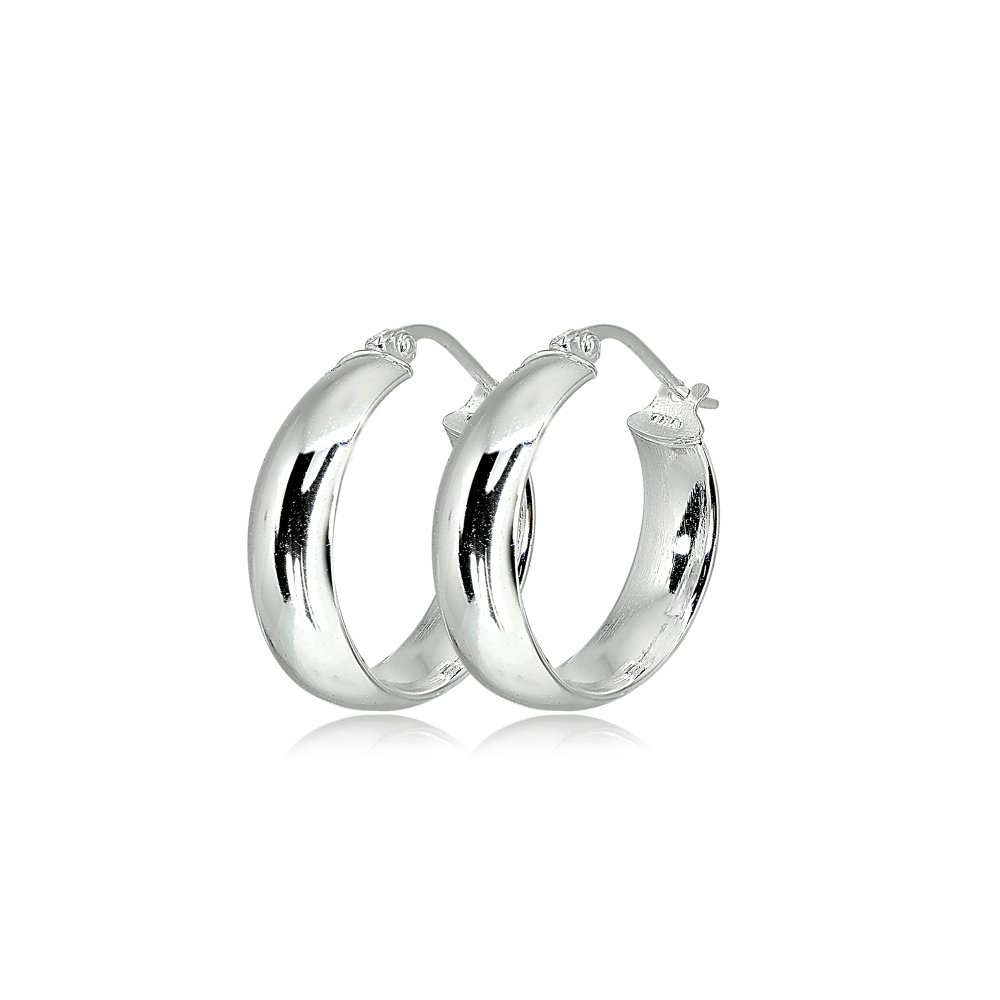 LOVVE Sterling Silver High Polished Half Round-Tube Click-Top Hoop Earrings, 5x20mm by LOVVE (Image #2)