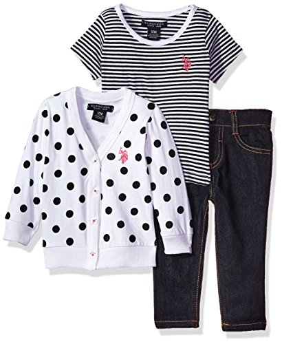 Mix Match Clothes (U.S. Polo Assn. Baby Girls' Sweater, Polo and Pant Set, White, 18M)