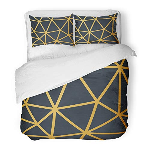 Emvency Decor Duvet Cover Set King Size Silver 1920 Vintage Pattern Geometric 30S Abstract Angular Artistic Beauty Black 3 Piece Brushed Microfiber Fabric Print Bedding Set Cover