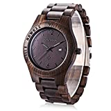 GBlife Bewell ZS - W086B Mens Wooden Watch Analog Quartz Lightweight Handmade Wood Wrist Watch (Ebony Wood)