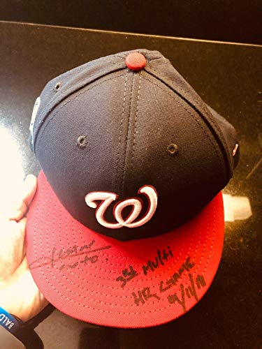 Juan Soto Historic Game Used Cap Sept 11, 2018 Inscribed Signed MLB Holo Rookie - Autographed Game Used MLB Hats