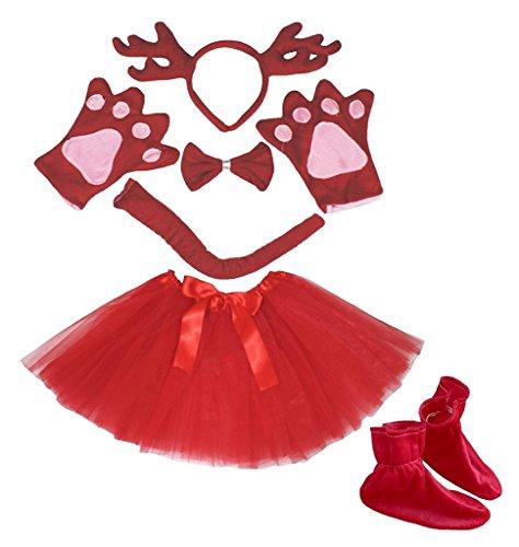 (Petitebella 3D Headband Bowtie Tail Gloves Skirt Shoes 6pc Girl Costume (3D Red Deer)