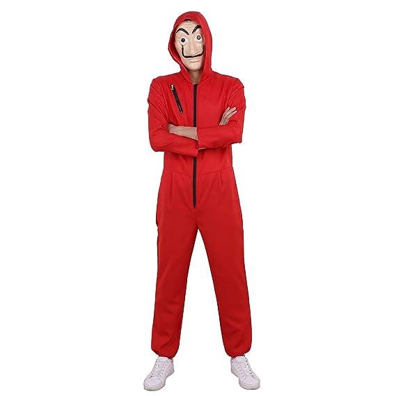 YiZYiF Disfraz de Ladrón Jumpsuit Cosplay para Carnaval Halloween Costume Romper Mono Bodies para Unisex Adulto Rojo L
