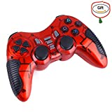 Baigeda Wireless Game Controller for Computer 2.4GHz RF Dual Shock Joypad PC Gamepad Devices Laptop Game Accessories Joystick for PC360 PS1/ 2/ 3 Android TV/ TV BOX XP/ 98/ ME/ Vista/ Win 7/ 8/ 10 Red