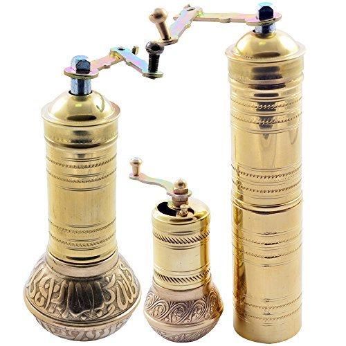 Handbook Hand Grinder Mill SET for Turkish Greek Arabic Coffee Beans & Spice Pepper Salt , Brass (All Family)