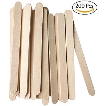Korlon Natural Wooden Ice Cream Sticks Treat Sticks Freezer Pop Sticks, 4.5 Inches Length Wooden Sticks for Ice Cream Bars, 200Pcs