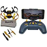 Blomiky 512W WIFI FPV Elfin UFO Bee Tiny Micro Nano Quadcopter Helicopter Mini Drone with FPV Camera Gyro Extra Propeller 4pcs 512W Yellow