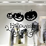 Sayhi Halloween Smiling Pumpkin Wall Sticker Household Room Mural Window Home Decoration Party Decal Decor for Kids(Black,one size)