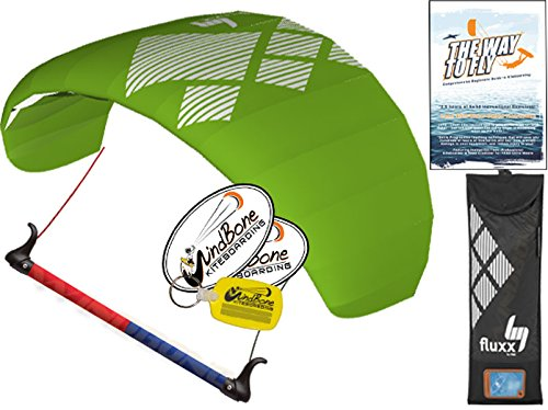 HQ4 Fluxx 1.8M Trainer Kite TR plus Kiteboarding DVD Bundle (4 items) Includes 'The Way To Fly' Beginner Kitesurfing Instructional + WindBone Kite Lifestyle Decals + Key Chain : Power Traction Train