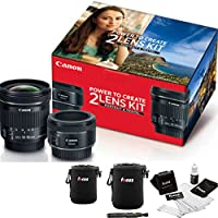 Canon 50mm f/1.8 and 10-18mm Portrait & Travel 2 Lens Kit with Accessory Bundle