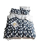 AMZTOP Elephant Print Kids Duvet Cover Twin XL Cotton Navy/Grey,Reversible Animal Geometric Grid 3 Pieces Dormitory Bedding Cover Sets Twin Boys Girls Zipper Closure, NO COMFORTER
