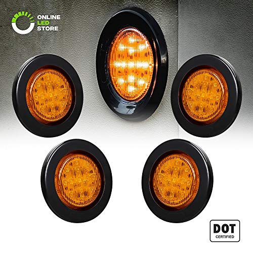 "4PC 2.5"" Round 10 LED Light [2 in 1 Reflector] [Polycarbonate Reflector] [13 LEDs] [D.O.T. Certified] [2 Year Warranty] Side Marker Light for Trucks and Trailers - Amber"