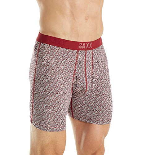 Saxx Men's Underwear Boxer Brief PLATINUM BOXER FLY (XX-Large, Red Bike Bazaar)