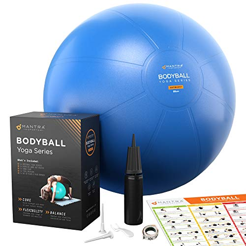 Exercise Ball Yoga Ball for Fitness, Stability, Pilates, Pregnancy, Birthing or Workout – 55cm / 65cm / 75cm Extra Thick…