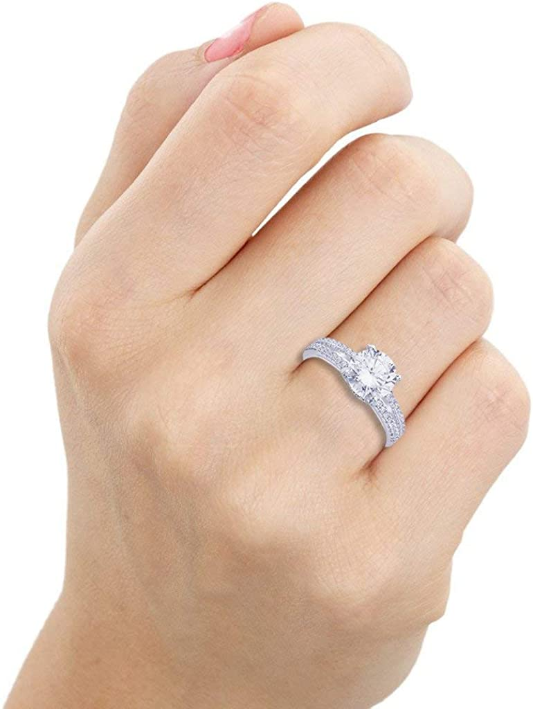 GS /& CO 3.00ct Micro Pave Round Cut Solitaire with Accents Unique CZ Diamond Engagement Ring 925 Sterling Silver