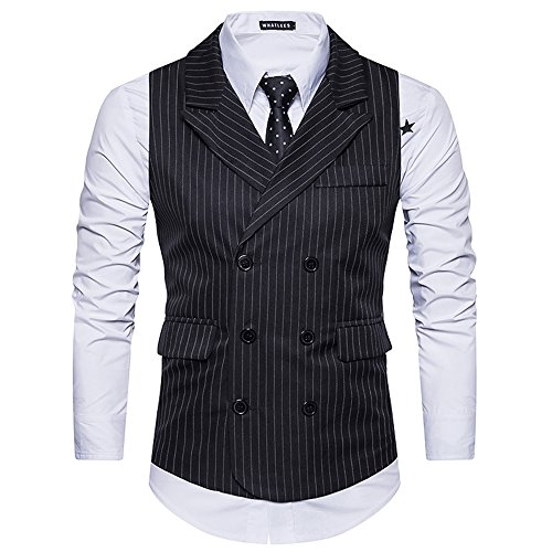 Double Breasted Striped Suit (LIWEIKE Men's Classic Stripes Slim Fit Double-Breasted Tailored Collar Suit Vest (Black, US S= Tag L))
