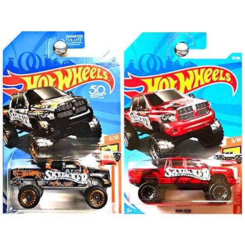 Hot Wheels 2018 Hot Trucks Dodge Ram 1500 Skyjacker Suspension Red and Black Set of 2 ()