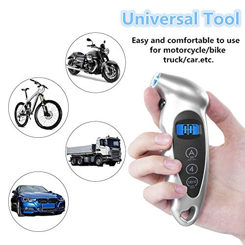 INFITARY Digital Tire Pressure Gauge 150 PSI 4 Settings TPMS Tire Pressure Monitoring System for Car RV Trailer Truck Jeep Sedan Bike Motorcycle Bicycle W//Backlit LCD Flashlight Non-Slip Grip