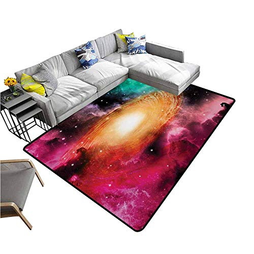 Anti-Slip Cooking Kitchen Carpets Zodiac,Colorful Astronomy Pictures of A Spiral Galaxy Stars Stardust and Cosmos,Pink Orange Green 48
