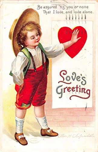 le boy large red heart signed Clapsaddle antique pc Z43753 ()