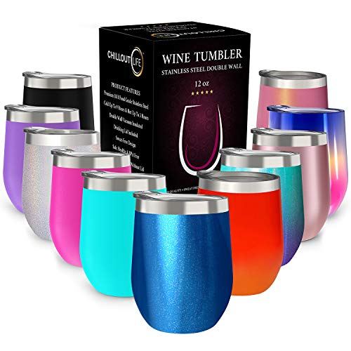 CHILLOUT LIFE 12 oz Stainless Steel Tumbler with Lid & Gift Box | Wine Tumbler Double Wall Vacuum Insulated Travel Tumbler Cup for Coffee, Wine, Cocktails, Ice Cream - Sparkle Tumbler -