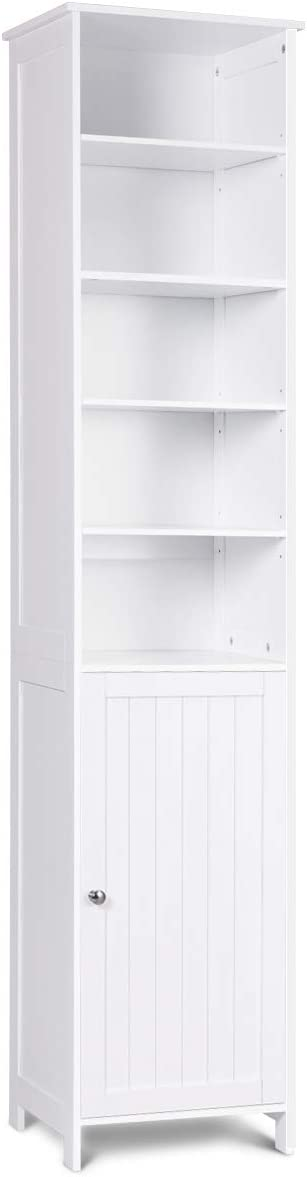 72 Tall Cabinet, WATERJOY Standing Tall Storage Cabinet, Wooden White Bathroom Cupboard with Door and 5 Adjustable Shelves, Elegant and Space-Saving