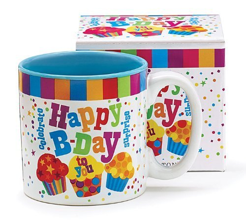 Festive Happy Birthday 13 Oz Coffee Mug with Cupcakes and Confetti Great Birthday (Coffee Cupcake)