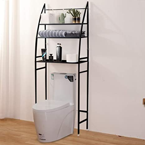 Amazon Com Fit Right 3 Shelf Bathroom Organizer Over The Toilet Storage Over Toilet Shelf Over Toilet Storage 27 L X 10 W X 66 H Charcoal Black Kitchen Dining